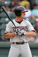 Designated hitter Alex Kowalczyk (22) of the Hickory Crawdads bats in a game against the Greenville Drive on Sunday, July 16, 2017, at Fluor Field at the West End in Greenville, South Carolina. Hickory won, 3-1. (Tom Priddy/Four Seam Images)