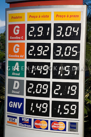 A fuel price list for diesel, ethanol, compressed natural gas and 'Gasoline C' which is gasoline with ethanol added. Cuiaba, Mato Grosso, Brazil