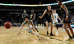 SIOUX FALLS, SD - MARCH 8: Marlon Stewart #1 of the North Dakota Fighting Hawks dives to save a loose ball from going out of bounds against the PFW Mastodons at the 2020 Summit League Basketball Championship in Sioux Falls, SD. (Photo by Dave Eggen/Inertia)