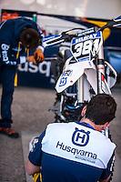 Husqvarna mechanics in Husqvarna box at Spanish Motocross Championship at Albaida circuit (Spain), 22-23 February 2014