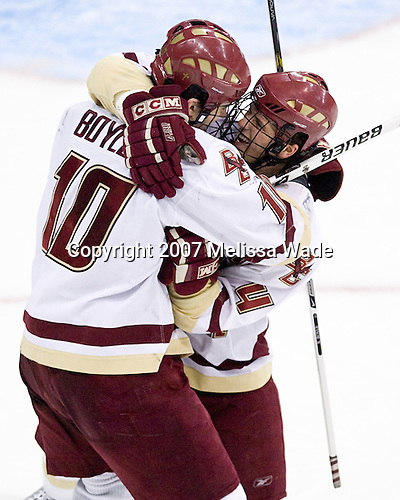 Brian Boyle (Boston College - Hingham, MA) and Mike Brennan (Boston College - Smithtown, NY) celebrate Brennan's goal (overturned - net off). The Boston College Eagles defeated the Miami University Redhawks 4-0 in the 2007 NCAA Northeast Regional Final on Sunday, March 25, 2007 at the Verizon Wireless Arena in Manchester, New Hampshire.