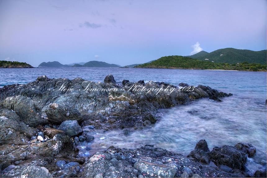 Moonrise over St. John <br /> from Henley Cay<br /> U.S. Virgin Islands