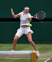 July 5, 2014, United Kingdom, London, Tennis, Wimbledon, AELTC, Ladie's Singles Final:  Eugenie Bouchard (CAN)  vs Petra Kvitova (CZE), Pictured: Petra Kvitova in action.<br /> Photo: Tennisimages/Henk Koster