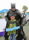 June 10th 2017,  Nottingham, England; WTA Aegon Nottingham Open Tennis Tournament day 1; Batman puts in an appearance at the kids zone as rain holds up start of play