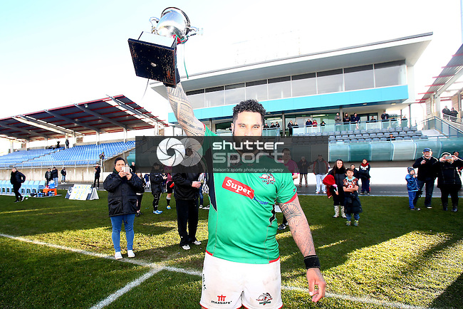 NELSON, NEW ZEALAND -JULY 30: Hoani Takao holds the winning trophy at the Tasman Rugby League Final Richmond Rabbits v Wanderers Wolves Trafalgar Park on July 30 2016 in Nelson, New Zealand. (Photo by: Evan Barnes Shuttersport Limited)