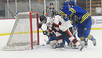 Verona's Conrad Moline (15) tries to score in the second period, as Madison West takes on Verona in Wisconsin Big Eight conference boys high school hockey on Friday, 1/3/20 at the Verona Ice Arena