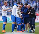 vl Philip T&uuml;rpitz (Magdeburg, 8), Ronny Thielemann (Magdeburg, Co-Trainer) Jubel, Torjubel, jubelt &uuml;ber das Tor, celebrate the goal, celebration beim Spiel in der 3. Liga, 1. FC Magdeburg - Karlsruher SC.<br /> <br /> Foto &copy; PIX-Sportfotos *** Foto ist honorarpflichtig! *** Auf Anfrage in hoeherer Qualitaet/Aufloesung. Belegexemplar erbeten. Veroeffentlichung ausschliesslich fuer journalistisch-publizistische Zwecke. For editorial use only.