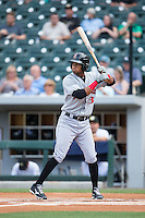 Pedro Florimon (13) of the Indianapolis Indians at bat against the Charlotte Knights at BB&T BallPark on June 17, 2016 in Charlotte, North Carolina.  The Knights defeated the Indians 4-0.  (Brian Westerholt/Four Seam Images)