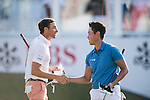 Daniel Im of USA (right) shakes hands with Benjamin Hebert of France after finishing the course during the 58th UBS Hong Kong Golf Open as part of the European Tour on 10 December 2016, at the Hong Kong Golf Club, Fanling, Hong Kong, China. Photo by Marcio Rodrigo Machado / Power Sport Images