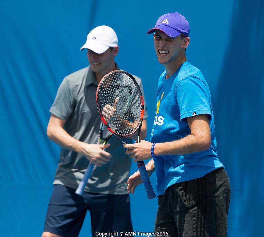 Mats Merkel (GER) Dominic Thiem (AUT)<br /> <br /> Tennis - Australian Open 2015 - Grand Slam -  Melbourne Park - Melbourne - Victoria - Australia  - 21 January 2015. <br /> &copy; AMN IMAGES