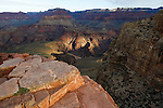 Sunlight on the canyon walls above the colorado river in the grand canyon