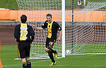 Home team substitute player Scott Dalziel (centre) celebrating after scoring his team's fourth goal in the second half at Shielfield Park, during the Scottish League Two fixture between Berwick Rangers and East Stirlingshire. The home club occupied a unique position in Scottish football as they are based in Berwick-upon-Tweed, which lies a few miles inside England. Berwick won the match by 5-0, watched by a crowd of 509.
