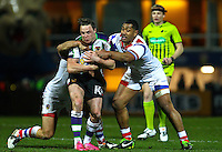 Picture by Alex Whitehead/SWpix.com - 20/02/2014 - Rugby League - First Utility Super League - Wakefield Trinity Wildcats v Bradford Bulls - Rapid Solicitors Stadium, Wakefield, England - Bradford's James Donaldson is tackledb by Wakefield's Scott Anderson and Ali Lauititi.