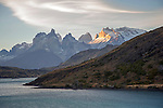 Sunset on Paine Massif Mountains in Torres del Paine National Park in Patagonia Chile