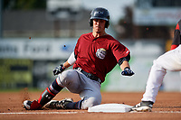 Mahoning Valley Scrappers third baseman Nolan Jones (10) slides into third base during the first game of a doubleheader against the Batavia Muckdogs on August 28, 2017 at Dwyer Stadium in Batavia, New York.  Mahoning Valley defeated Batavia 6-3.  (Mike Janes/Four Seam Images)
