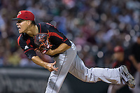 Rochester Red Wings starting pitcher Jose Berrios (16) follows through on his delivery against the Charlotte Knights at BB&T BallPark on August 8, 2015 in Charlotte, North Carolina.  The Red Wings defeated the Knights 3-0.  (Brian Westerholt/Four Seam Images)