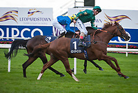 DUBLIN - SEPTEMBER 09: Decorated Knight #1, ridden by Andrea Atzeni, wins the Irish Champion S. G1, Win and You're In for the Longines Breeders' Cup Turf, at Leopardstown Racecourse in Leopardstown, Co. Dublin, Ireland. (Photo by Sophie Shore/Eclipse Sportswire/Getty Images)