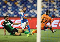 25th July 2020; Stadio San Paolo, Naples, Campania, Italy; Serie A Football, Napoli versus Sassuolo; Lorenzo Insigne of Napoli sees his goalbound shot saved by keeper Andrea Consigli