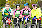 On the bike at the Barrabubh Cycle race on Sunday was Gerard Quirke, Pat Leane, Padraig Leane and Annette Leane