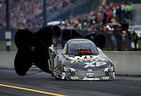 Oct. 6, 2012; Mohnton, PA, USA: NHRA funny car driver Tony Pedregon during qualifying for the Auto Plus Nationals at Maple Grove Raceway. Mandatory Credit: Mark J. Rebilas-