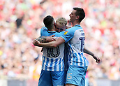 28th May 2018, Wembley Stadium, London, England;  EFL League 2 football, playoff final, Coventry City versus Exeter City; Jack Grimmer of Coventry City celebrates scoring his sides 3rd goal in the 68th minute to make it 3-0 with Dominic Hyam and Marc McNulty
