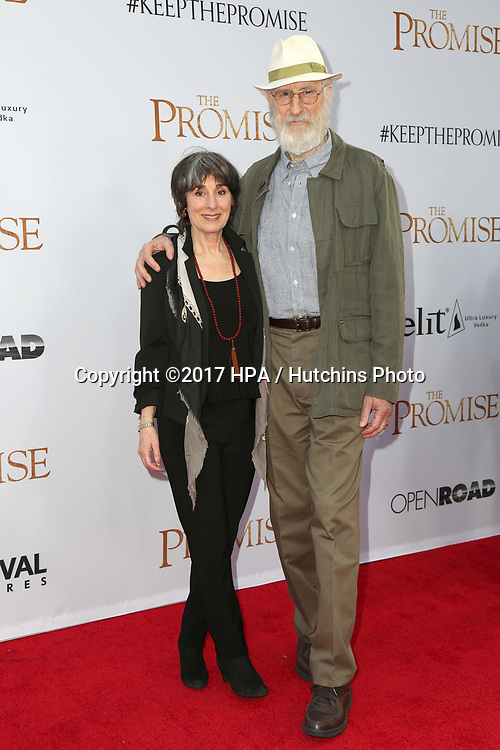 "LOS ANGELES - APR 12:  James Cromwell, Anna Stewart at the ""The Promise"" Premiere at the TCL Chinese Theater IMAX on April 12, 2017 in Los Angeles, CA"
