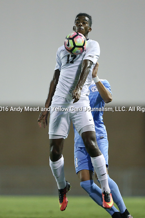 16 September 2016: Pitt's Roosevelt Angulo (CAN). The University of North Carolina Tar Heels hosted the University of Pittsburgh Panthers in Chapel Hill, North Carolina in a 2016 NCAA Division I Men's Soccer match. UNC won the game 1-0.