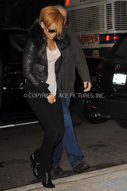 WWW.ACEPIXS.COM . . . . . ....November 25 2009, New York City....Singer Rihanna arriving at a radio station in Manhattan on November 25 2009 in New York City....Please byline: KRISTIN CALLAHAN - ACEPIXS.COM.. . . . . . ..Ace Pictures, Inc:  ..(212) 243-8787 or (646) 679 0430..e-mail: picturedesk@acepixs.com..web: http://www.acepixs.com