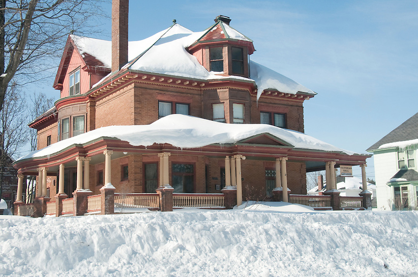 A Victorian mansion covered in snow in Laurium Michigan.