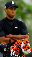 Tiger Woods stands behind his golf bag during the 2007 Wachovia Championships at Quail Hollow Country Club in Charlotte, NC.