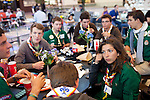 Scouts Guides de France, a corps of young adults in the early twenties, eat lunch on a layover after doing community service in Columbia, at the Maynard H. Jackson Jr. International Terminal at Hartsfield–Jackson Atlanta International Airport, in Atlanta, Georgia on August 28, 2013.