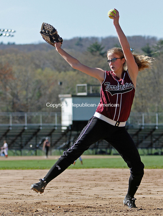 Torrington, CT-050113MK04 Torrington's Sydney Malzko deliver's a pitch to Wolcott during NVL softball action at Torrington High School on Wednesday afternoon. Michael Kabelka / Republican-American.