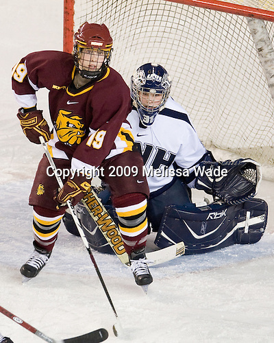 Laura Fridfinnson (UMD - 19), Kayley Herman (UNH - 31) - The University of Minnesota-Duluth Bulldogs defeated the University of New Hampshire Wildcats 4-1 in their NCAA Quarterfinal meeting on Saturday, March 14, 2009, at the Whittemore Center in Durham, New Hampshire.