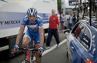 Frederik Veuchelen (BEL/Wanty-Groupe Gobert) was in the break all day and is visibly tired after finishing the race<br /> <br /> Tour de Wallonie 2015<br /> stage 5: Chimay - Thuin (
