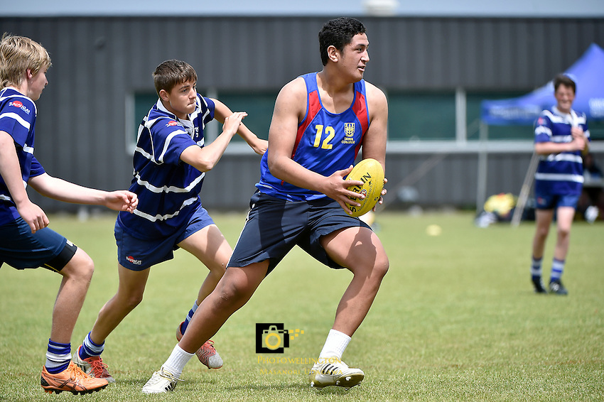 Action from the AFL - Junior Hawkes Cup at Hutt Park, Lower Hutt, New Zealand on Wednesday 18 November 2015.<br />