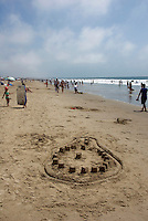 Santa Monica, Beach, CA, People, Crowd, Sand, Castles, relaxing, swimming, sunning, having fun, playing games, making sandcastles, walking, waves vacation, vacationing, pacific ocean, beach, us, ocean, water, oceans, saltwater, Sand art drawing,