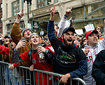 BOSTON, MA - OCTOBER 31: Fans cheer during the Boston Red Sox's World Series victory parade in Boston, Massachusetts on October 31, 2018. (Staff photo by Christopher Evans)