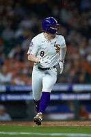 Daniel Cabrera (8) of the LSU Tigers hustles down the first base line against the Texas Longhorns in game three of the 2020 Shriners Hospitals for Children College Classic at Minute Maid Park on February 28, 2020 in Houston, Texas. The Tigers defeated the Longhorns 4-3. (Brian Westerholt/Four Seam Images)