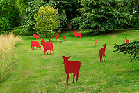 France, Sarthe (72), Le Lude, château et jardins du Lude, installation, le troupeau (2014) par Anne Morea