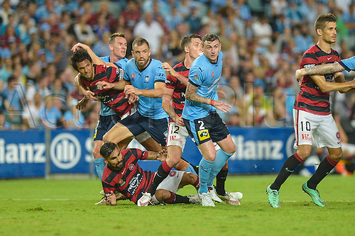 20.02.2016. Allianz Stadium, Sydney, Australia. Hyundai A-League. Sydney FC versus Western Sydney Wanderers. Goalmouth action as Wanderers midfielder Dimas is bundled to the ground. The game ended in a 1-1 draw.