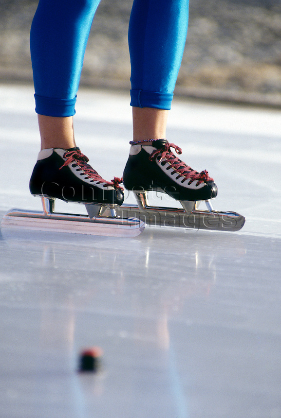 Close up of a speed skaters skates