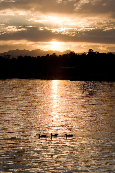 Mountain lake sunset, Denver, Colorado, USA John offers private photo tours of Denver, Boulder and Rocky Mountain National Park.