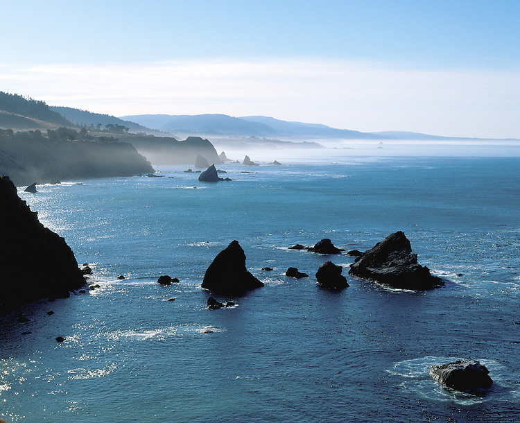 View of pacific coastline from the Navarro Point, Navarro California