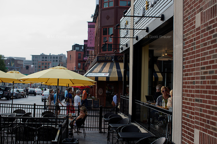People eat at Bread + Butter, a bakery and cafe in the North End of Boston, Massachusetts, USA.