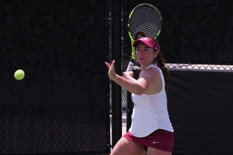 April 27, 2017; Claremont, CA, USA; Loyola Marymount Lions player Jessica Perez during the WCC Tennis Championships at Biszantz Family Tennis Center.