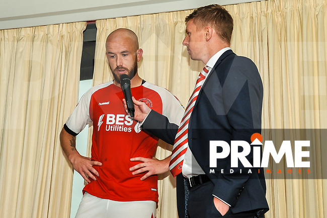 Fleetwood Town's forward Patrick Madden (17) interviewed byu Fleetwood Town's Will Watt during the Sky Bet League 1 match between Fleetwood Town and AFC Wimbledon at Highbury Stadium, Fleetwood, England on 10 August 2019. Photo by Stephen Buckley / PRiME Media Images.