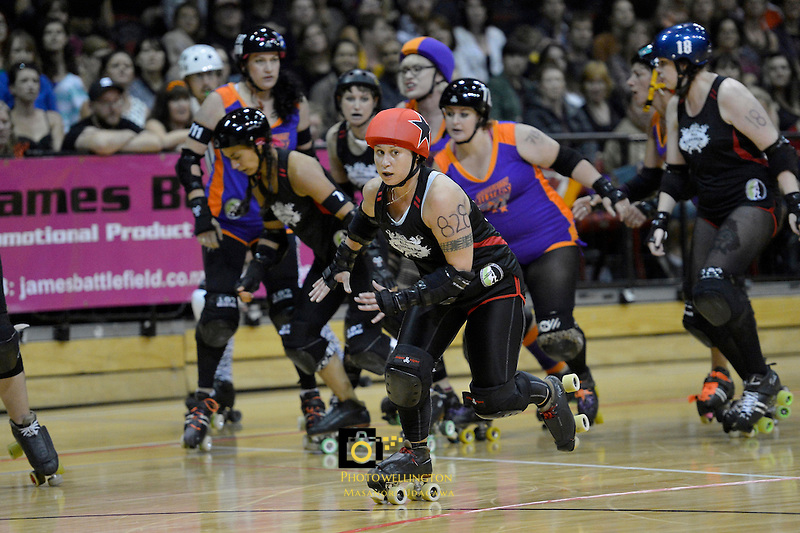 Roller Derby match between Wellington Richter City All Stars and Auckland Pirate City All Scars at TSB Arena, Wellington, New Zealand on Saturday 23 March 2013. <br />