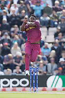 Oshane Thomas (West Indies) in action during England vs West Indies, ICC World Cup Cricket at the Hampshire Bowl on 14th June 2019