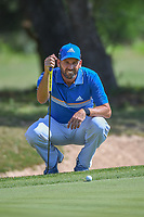 Sergio Garcia (ESP) lines up his putt on 8 during Round 1 of the Valero Texas Open, AT&amp;T Oaks Course, TPC San Antonio, San Antonio, Texas, USA. 4/19/2018.<br /> Picture: Golffile | Ken Murray<br /> <br /> <br /> All photo usage must carry mandatory copyright credit (&copy; Golffile | Ken Murray)