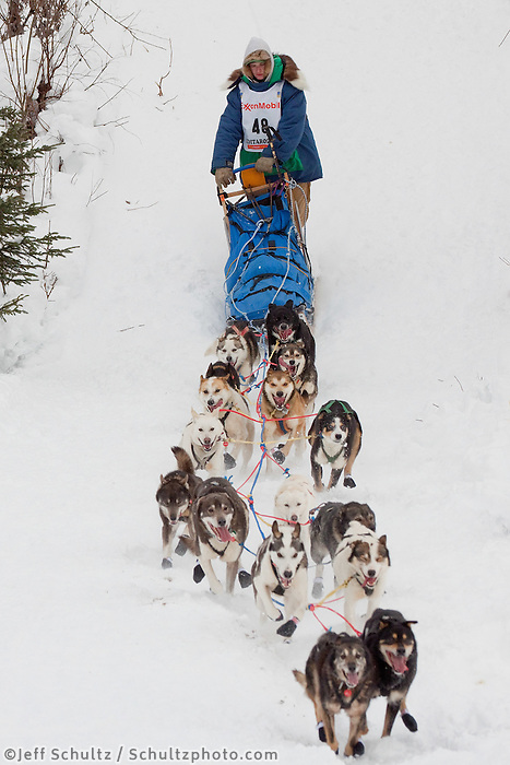 Musher # 48 Wade Marrs at the Restart of the 2009 Iditarod in Willow Alaska.